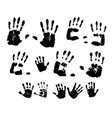 handprints in black paint on a white background vector image