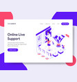landing page template online live support vector image vector image