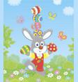 little easter bunny juggler vector image vector image