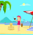 little girl with coconut on sea coast background vector image vector image