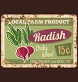 local farm radish rusty metal plate vector image vector image