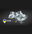 map ukraine with divisions isolated on black vector image vector image