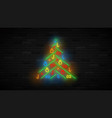 neon christmas tree template vector image vector image