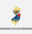 new jersey usa map flag vector image vector image