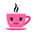 pink coffee cup with eyes isolated on white vector image