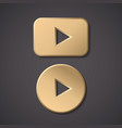play gold button icon round arrow gold vector image