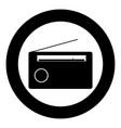 radio icon black color in circle or round vector image vector image