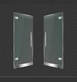 realistic 3d detailed glass door open on a vector image vector image