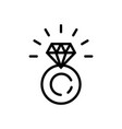 ring with diamond icon in line style symbol vector image
