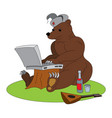 russian hacker - brown bear with laptop vector image vector image