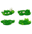 set isometric platforms island grass with vector image