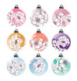 set of watercolor christmas balls with flowers vector image vector image