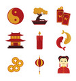 simple cute chinese custom culture graphic set vector image vector image