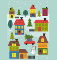 small town in winter time vector image vector image