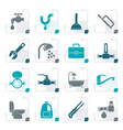 stylized plumbing objects and tools icons vector image vector image