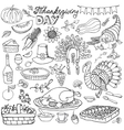 Thanksgiving day doodle iconsLinear set vector image vector image