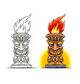 tiki totem cartoon statue vector image vector image