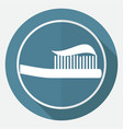 toothbrush icon on white circle with a long shadow vector image