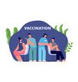 vaccination scene patient get vaccines doctors vector image vector image