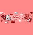 valentines day banner with heart shaped gift box vector image vector image