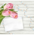 Vintage toned tulips and note paper EPS 10 vector image vector image