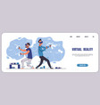 vr gaming landing page augmented reality and 3d vector image vector image