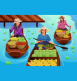 woman selling fruit in a traditional floating vector image vector image