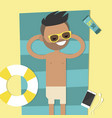 young character lying on beach top view flat vector image