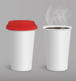 Take-out coffee in cardboard closed and opened cup vector image