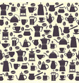 seamless pattern collection icons coffee pots vector image