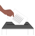 a hand putting paper in ballot box vector image vector image