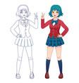 anime manga girl japanese comics cute school vector image