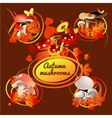 Autumn card bouquet of leaves and mushrooms vector image vector image