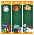 back to school blackboard banners with supplies vector image