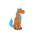 beautiful brown unicorn with blue mane magic vector image vector image