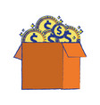 box open with coins cash money vector image vector image