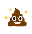 brown dung face flat icon with blinking star vector image vector image