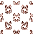 Cartoon brown owl seamless pattern vector image