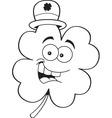Cartoon shamrock wearing a derby hat vector image vector image