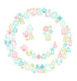 christmas and new year icons set vector image vector image