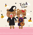 cute doodle couple halloween vector image vector image