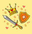 doodle of crown and sword collection vector image vector image