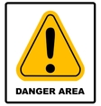 Exclamation danger area sign vector image vector image