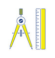 flat design icon of compasses and scale iin ui vector image vector image