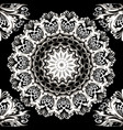 floral black and white lace mandala seamless vector image vector image