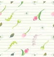 floral seamless pattern with pink tulips flower vector image