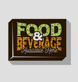 food and beverage typographic sign design for pubs vector image