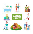 good habits poster with characters who do right vector image vector image