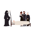 group of sad people dressed in mourning clothes vector image vector image