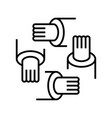 handshakes line icon concept sign outline vector image vector image